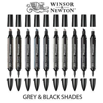 Winsor & Newton ProMarker Twin-Tip Graphic Marker Pens - GREY & BLACK Tones