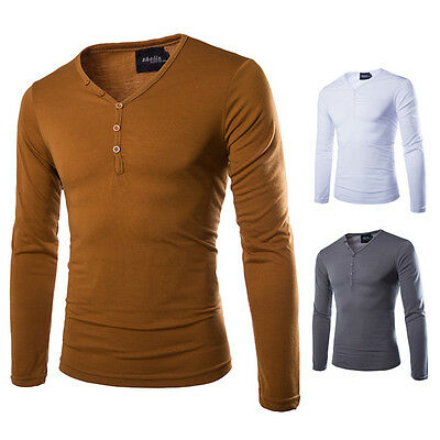 Men's Slim Fit Sleeve Long Button V-Neck Tee Shirt Solid Casual Tops T-Shirts