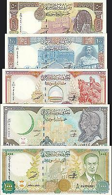 Syria Set Unc 5 Pcs 1000  500  200  100  50 Pounds 1997- P.111-110-109-108-107