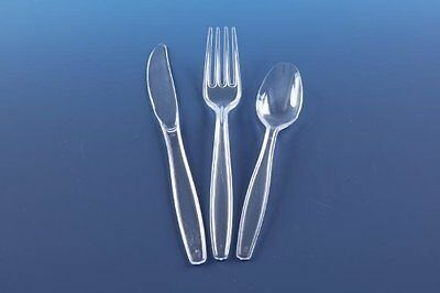 Heavy Duty Clear Disposable Plastic Strong Spoons Forks Knives Cutlery 50 Party