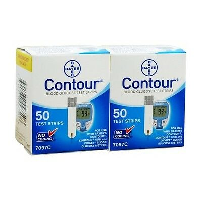 100 Bayer Contour Blood Glucose Test Strips Exp: 2/17 FREE SHIPPING!