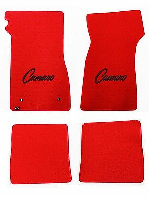 NEW! 1967-1969 Camaro Floor Mats RED Set of 4 Carpet Embroidered Script Logo