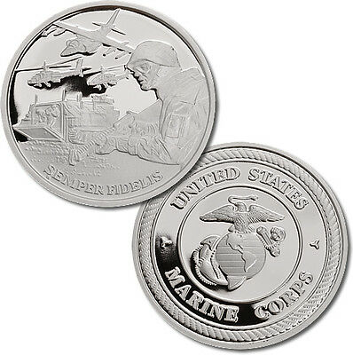 Military Series Marine Corps 1 oz .999 Silver Proof Round USA Made Bullion Coin