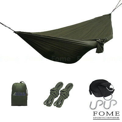 FOME Portable Fabric Hammock Hanging Bed + Tree Hanging Adjustable Straps