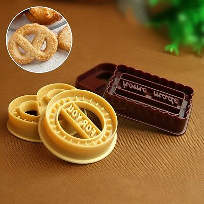 4pcs Square Round Biscuit Pastry Cookie Cutter Fondant Cake Decor Mold Mold Tool
