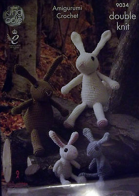 King Cole Crochet DK Knitting pattern rabbit family 9034
