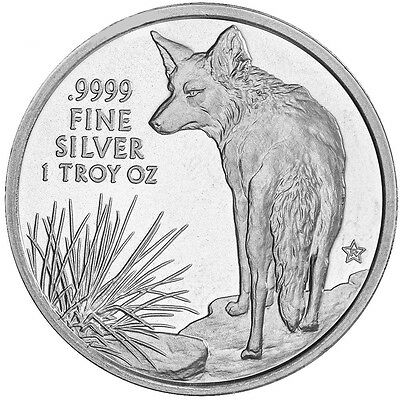 2016 Texas Silver Round - The Coyote 1 oz .9999 Fine Silver USA Made BU Coin
