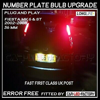 FORD FIESTA MK 6 & MK 5 2x 3 SMD 36mm LED Canbus Number Plate Light Bulb