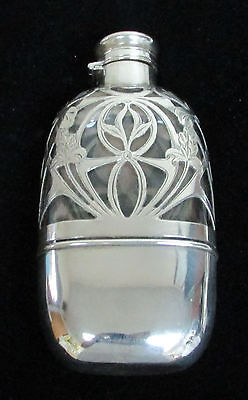 Petite Gorham Sterling Silver Overlay Crystal Flask