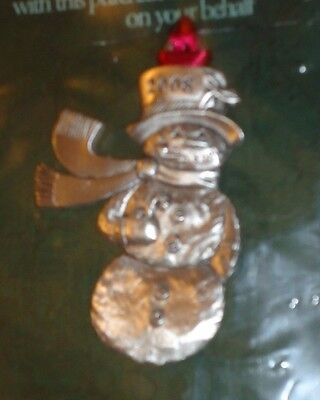 Pewter Snowman Christmas Ornament 2008 NEW
