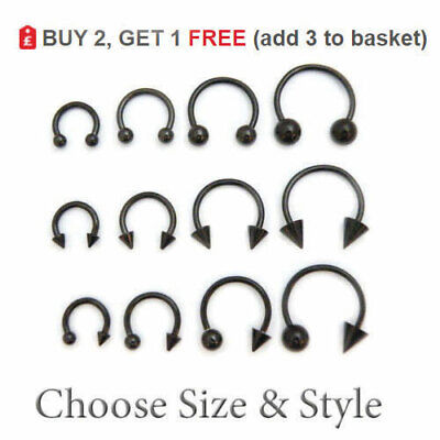 Horseshoe Bar Circular Barbell Steel Septum Nipple Nose Ear Ring Anodized BLACK