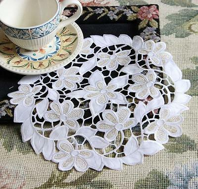 Elegant Flower Golden Thread Embroidery Cutwork Round White Doily CL Out of Stoc