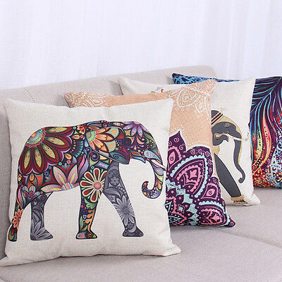 Vintage Cotton Linen Cushion Cover Boho Tribal Elephant Throw Pillow Case Decor