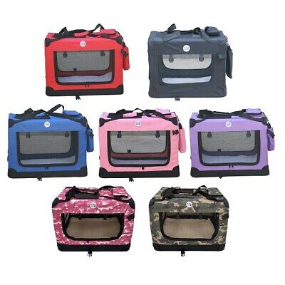 Fabric Dog Crate - Puppy Carrier - Cat Travel Cage - Carry Pet Bag - Lightweight