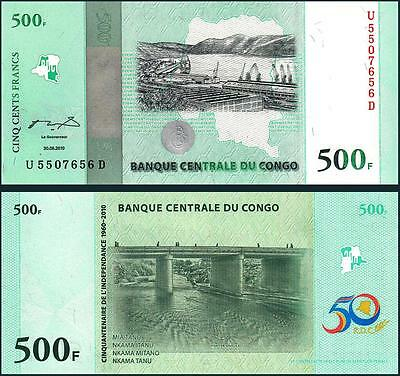 Congo 500 Francs 2010 Uncirculated Commemorative Day P New