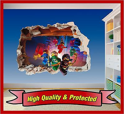 Lego Ninjago Hole in Wall - Printed Vinyl Sticker Decal Childrens Bedroom Boys