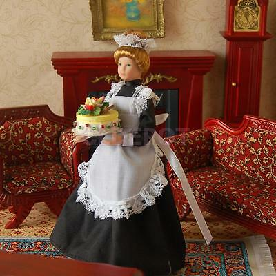 1:12 Scale Doll House Dolls Victorian Servant Maid w. Stand Dollhouse People
