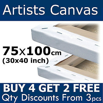 Large Blank Canvas 75x100cm (30x40 inch) Plain Stretched Artists Primed Painting