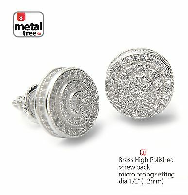 Men's Hip Hop Silver Plated Double Round Screw Back Stud Earrings SE 11171 S