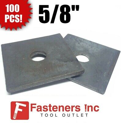 """(Qty 100) 5/8"""" x 3"""" x .25 (approximately) Square Bearing Plate Washer Plain"""