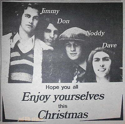"SLADE - HOPE YOU ALL ENJOY YOURSELVES THIS CHRISTMAS, UK 7"" x 7"" ADVERT AD 1971"