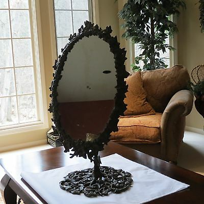 Antique Cast Iron Dressing Display Mirror On Stand -Stunning Ivy Leaf Design