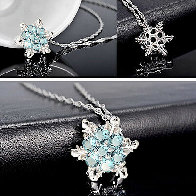 Chic Vintage lady Blue Crystal Snowflake Frozen Flower Silver Pendant Necklace