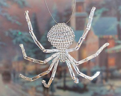 Silver Beaded Spider Ornament with Legend of the Christmas Spider