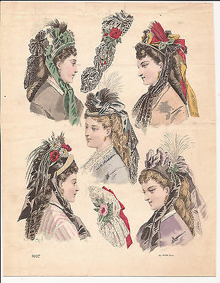 HATS & HEADWEAR    Fashions for April 1872   Antique Hand-Coloured Print