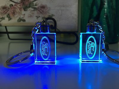 Crystal LED Laser Key Rings FORD Logo Blue & Purple