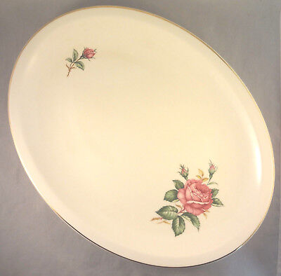 "RED ROSE by PADEN CITY 14"" OVAL SERVING PLATTER Roses & Buds on Cream"