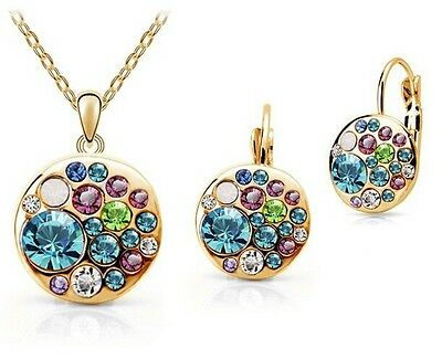 Gold & Silver Plated Crystal Necklace Earring Set Pandora Fashion Jewelry Charm