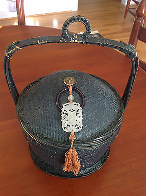 Antique Chinese Wedding Basket with Nephrite Jade Basket Pendant