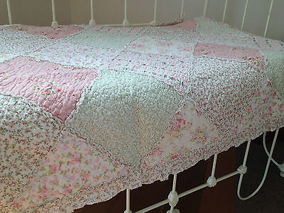 Linens n Things Lila Girls Baby Cot Quilt Nursery Vintage Floral Shabby Chic