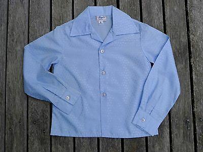 Vintage retro true 80s age 2 unused childrens boys blue satin disco shirt top