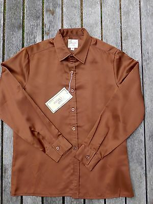 Vintage retro true 80s age 10 unused childrens boys brown satin disco shirt NOS