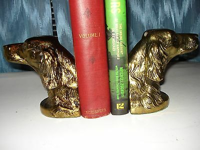 Vintage Irish Setter Hunting Dog Brass Bookends