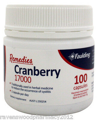 Faulding Remedies Cranberry 17000mg (100 Tablets) ::Healthy Bladder::