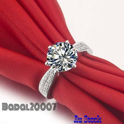 Stunning 925 Sterling Silver plated Engagement Crystal Cubic Zirconia Ring