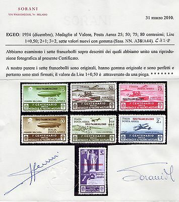 Italy Post Office`s Greece Cv £600 Sg 168,to 174. Mint Air Set With Certificate