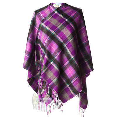 Edinburgh - Soft & Warm Lambswool Mini Or Girls Cape - Bruce Purple & Grey