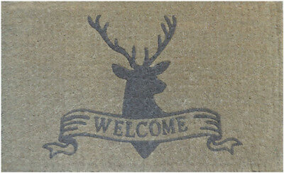100% COIR Doormat Door Mat TOP Quality 45 x 75 WELCOME Deer Elk Grey 45 x 75