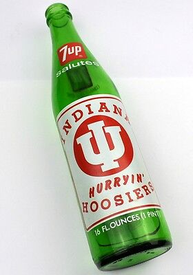 7up Flasche USA Bottle 1974 Indiana Hurryin' Hoosiers NCAA Basketball