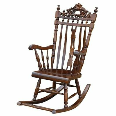 Solid Mahogany Wood Rocking Chair Hand Crafted Antique Reproduction Design