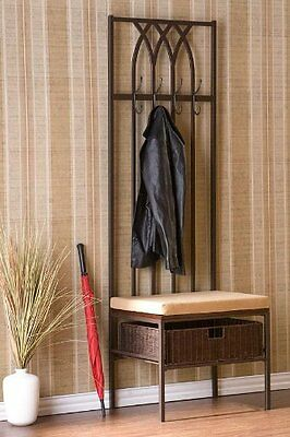 Entryway Hall Tree Coat Holder Rack Stand Home Furniture Storage Hook Chair Hat