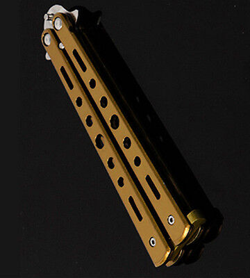 Stunning Practice Balisong Butterfly Comb Knife Stainless Steel Training Gold PA