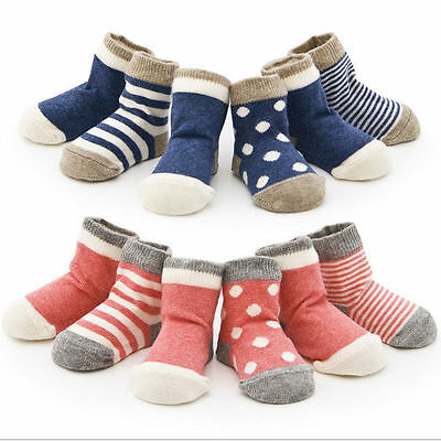 Set of 4 Pairs Lovely Cute Cotton Socks for 1-3Y Baby Boys Girls Toddler Kids