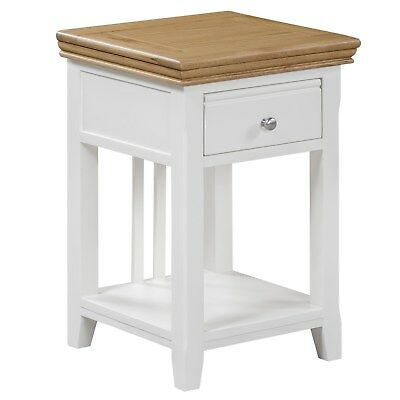 Charleston Farmhouse Bedside Table in Stone White and Solid Oak