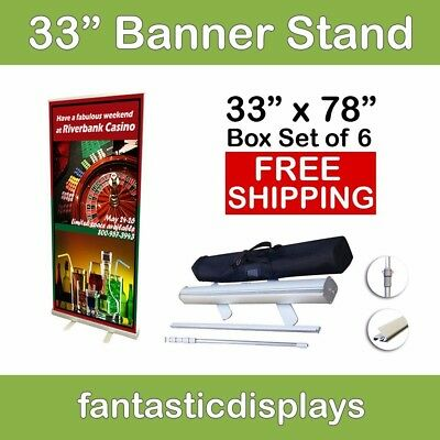 "33"" Retractable Roll Up Banner Stands - Holds 34""-78"" Tall Banners (Lot of 6)"