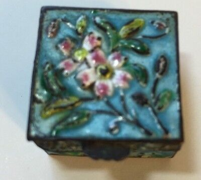 ESTATE Vintage Chinese Export Blue Floral Enamel Pill Snuff Box
